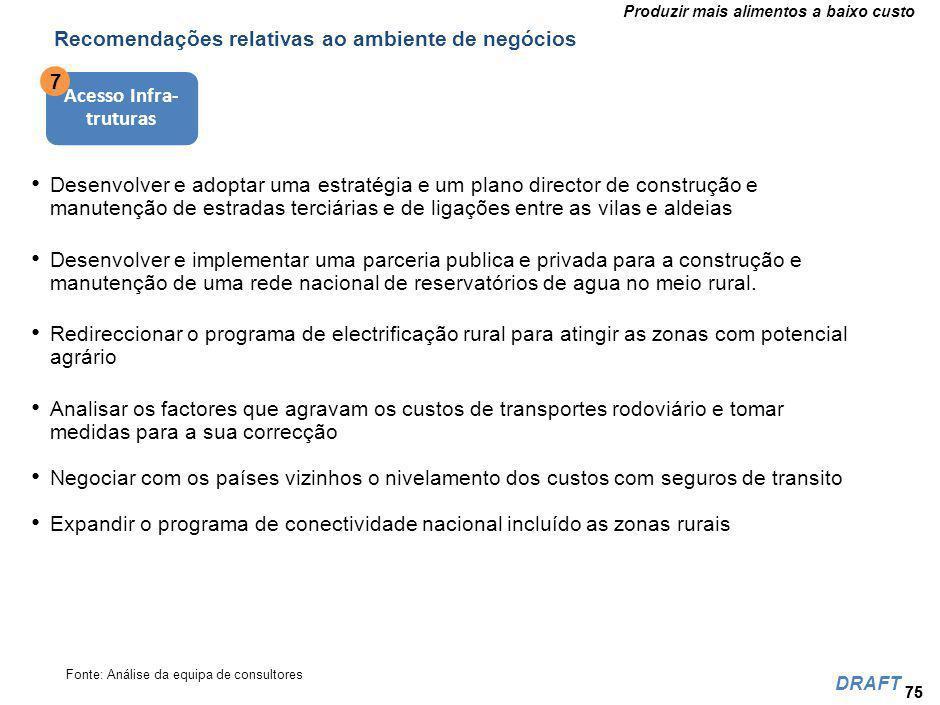 Recomendações relativas ao ambiente de negócios 8 Agro Processamento