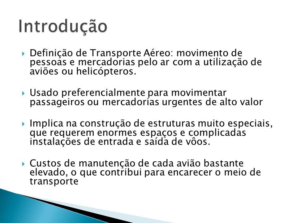 Introdução Definição de Transporte Aéreo: movimento de pessoas e mercadorias pelo ar com a utilização de aviões ou helicópteros.