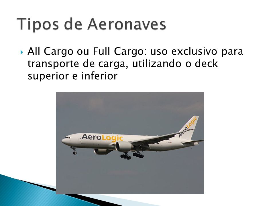 Tipos de Aeronaves All Cargo ou Full Cargo: uso exclusivo para transporte de carga, utilizando o deck superior e inferior.