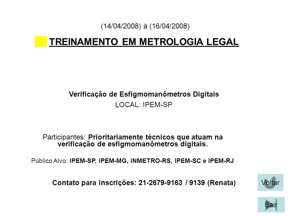 TREINAMENTO EM METROLOGIA LEGAL
