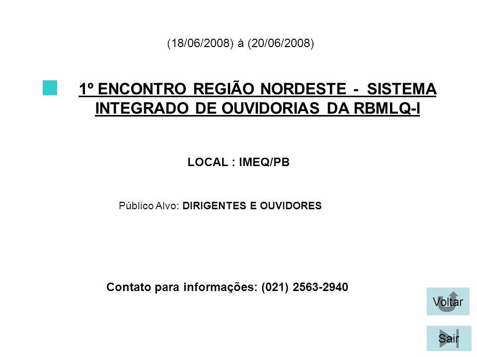 Contato para informações: (021) 2563-2940