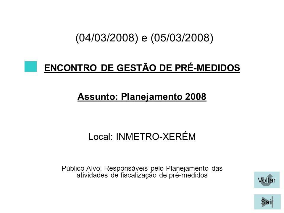 ENCONTRO DE GESTÃO DE PRÉ-MEDIDOS Assunto: Planejamento 2008