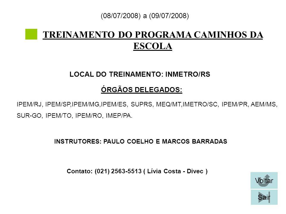 TREINAMENTO DO PROGRAMA CAMINHOS DA ESCOLA