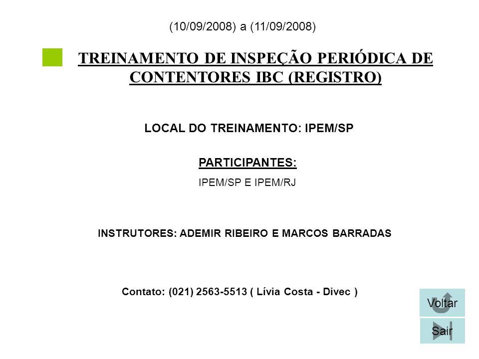 TREINAMENTO DE INSPEÇÃO PERIÓDICA DE CONTENTORES IBC (REGISTRO)