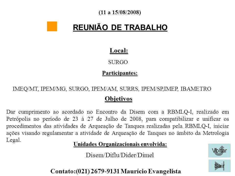 REUNIÃO DE TRABALHO Local: Objetivos Disem/Diflu/Dider/Dimel
