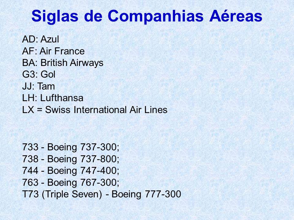 Siglas de Companhias Aéreas