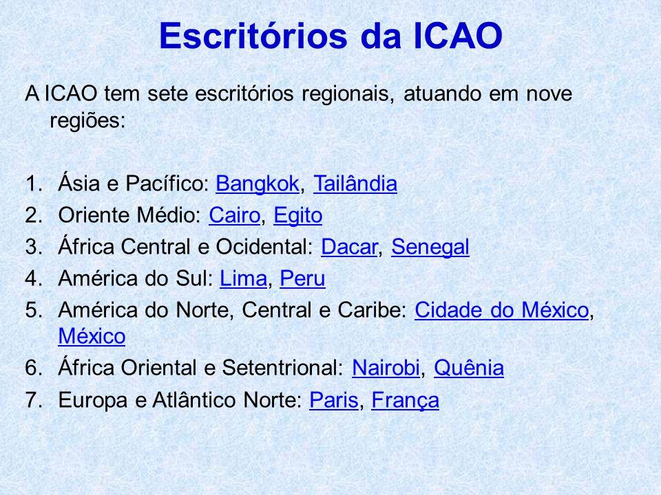 Escritórios da ICAO A ICAO tem sete escritórios regionais, atuando em nove regiões: Ásia e Pacífico: Bangkok, Tailândia.