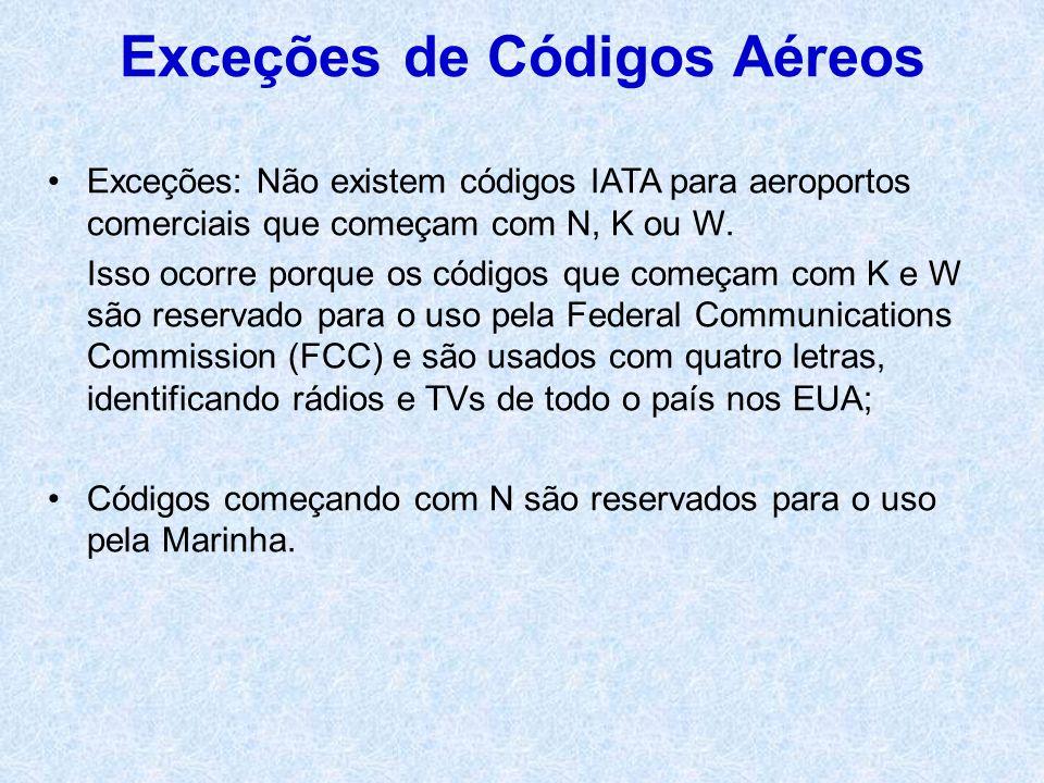 Exceções de Códigos Aéreos