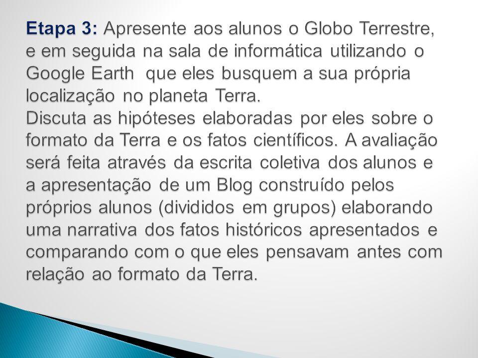 Etapa 3: Apresente aos alunos o Globo Terrestre, e em seguida na sala de informática utilizando o Google Earth que eles busquem a sua própria localização no planeta Terra.