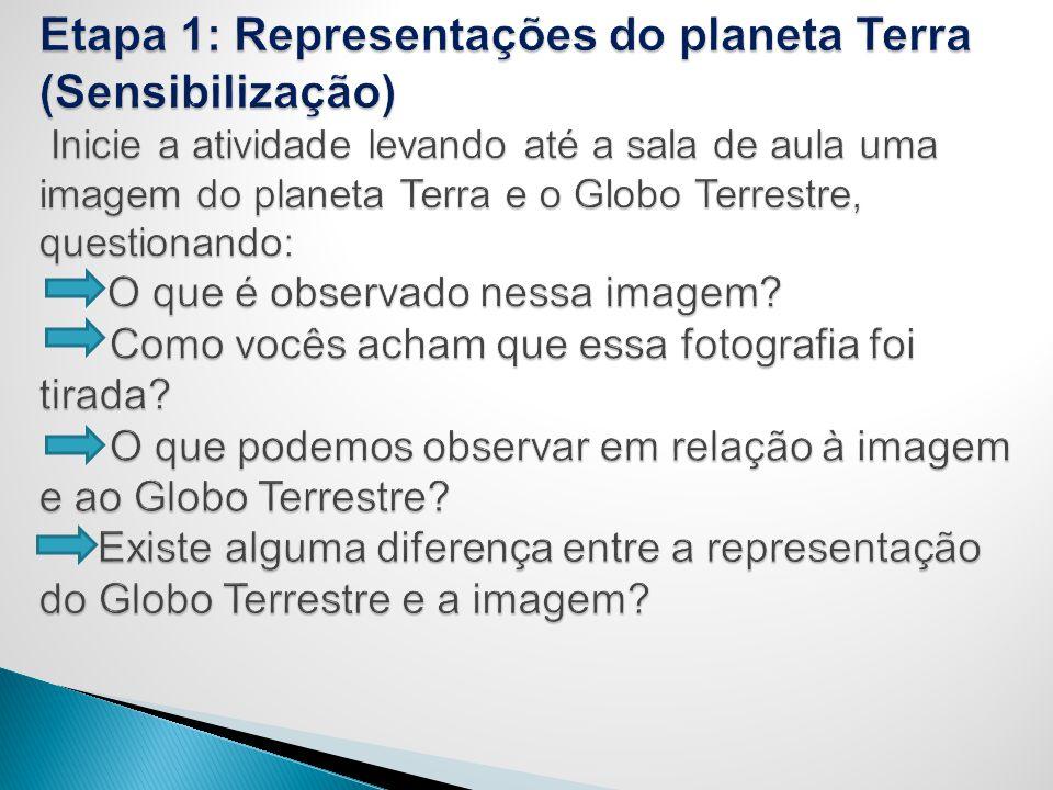 Etapa 1: Representações do planeta Terra (Sensibilização) Inicie a atividade levando até a sala de aula uma imagem do planeta Terra e o Globo Terrestre, questionando: O que é observado nessa imagem.