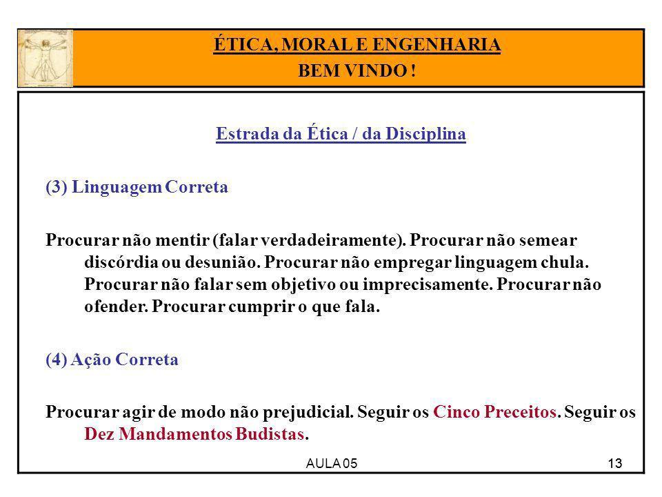 ÉTICA, MORAL E ENGENHARIA Estrada da Ética / da Disciplina