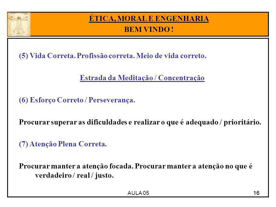 ÉTICA, MORAL E ENGENHARIA Estrada da Meditação / Concentração