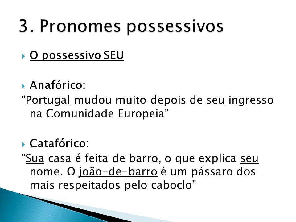 3. Pronomes possessivos O possessivo SEU Anafórico: