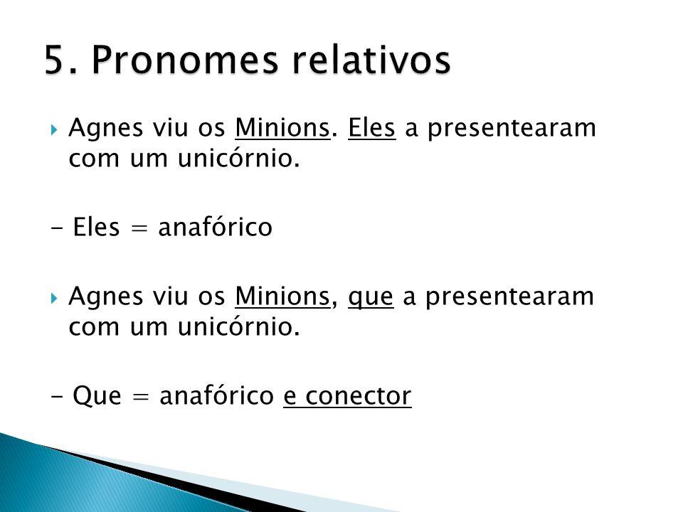 5. Pronomes relativos Agnes viu os Minions. Eles a presentearam com um unicórnio. - Eles = anafórico.