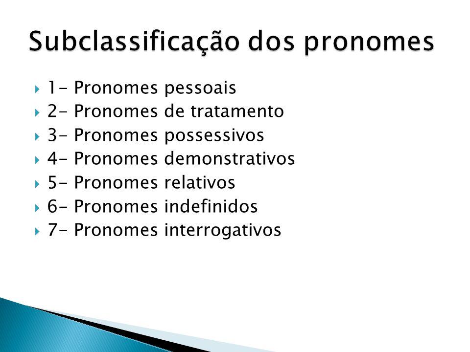 Subclassificação dos pronomes