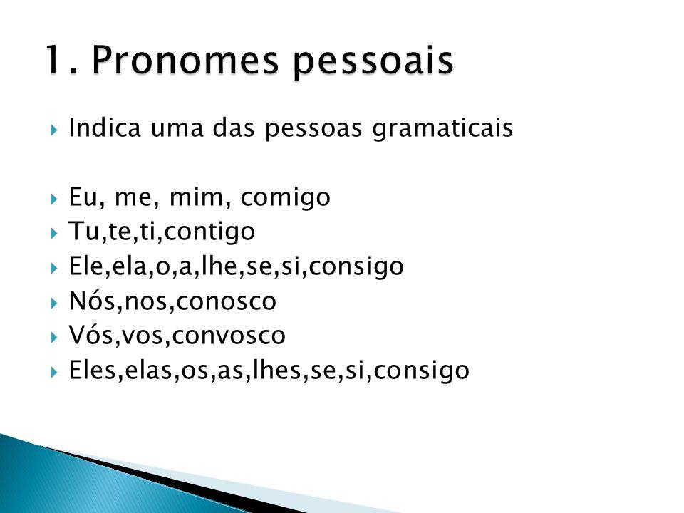 1. Pronomes pessoais Indica uma das pessoas gramaticais