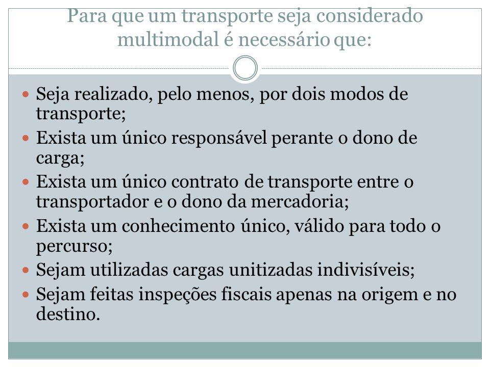 Para que um transporte seja considerado multimodal é necessário que: