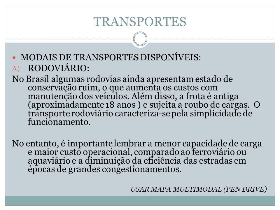 TRANSPORTES MODAIS DE TRANSPORTES DISPONÍVEIS: RODOVIÁRIO: