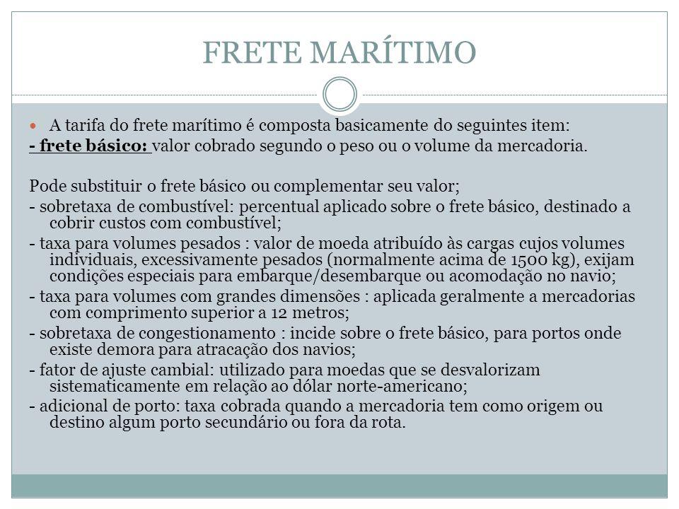 FRETE MARÍTIMO A tarifa do frete marítimo é composta basicamente do seguintes item: