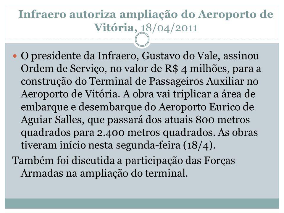 Infraero autoriza ampliação do Aeroporto de Vitória, 18/04/2011