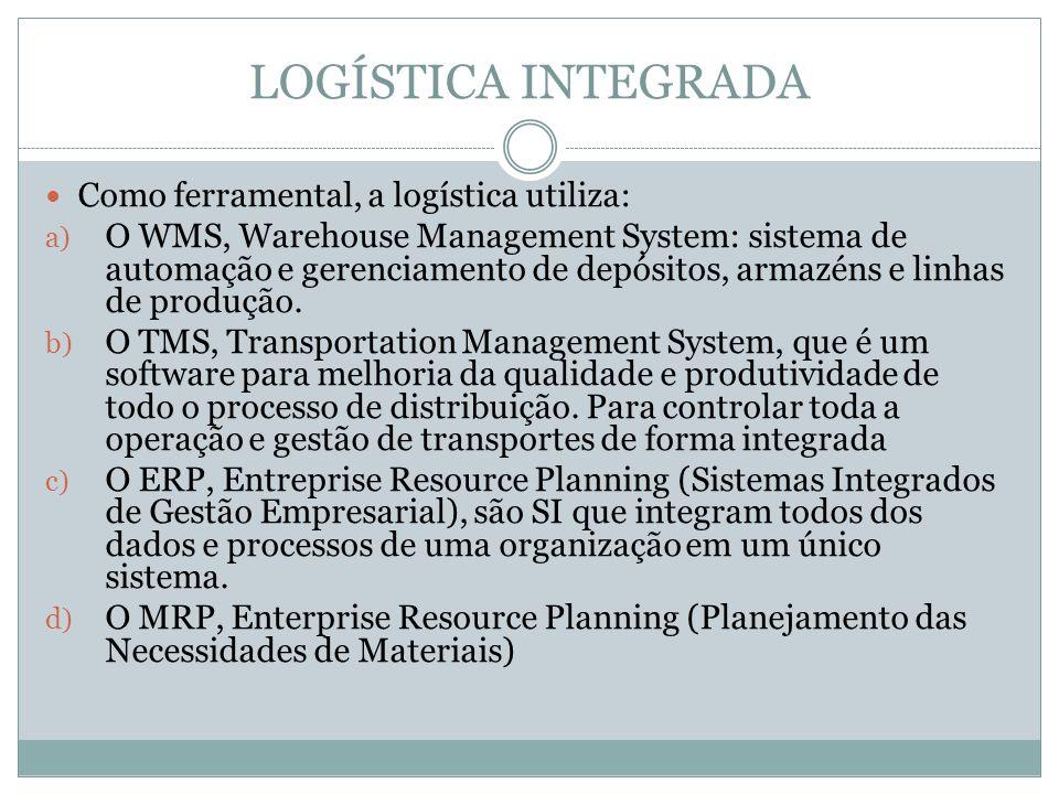 LOGÍSTICA INTEGRADA Como ferramental, a logística utiliza: