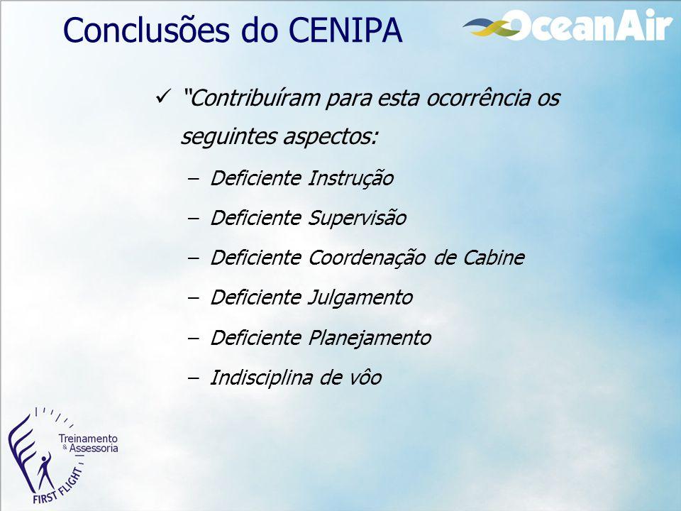 Conclusões do CENIPA Contribuíram para esta ocorrência os seguintes aspectos: Deficiente Instrução.