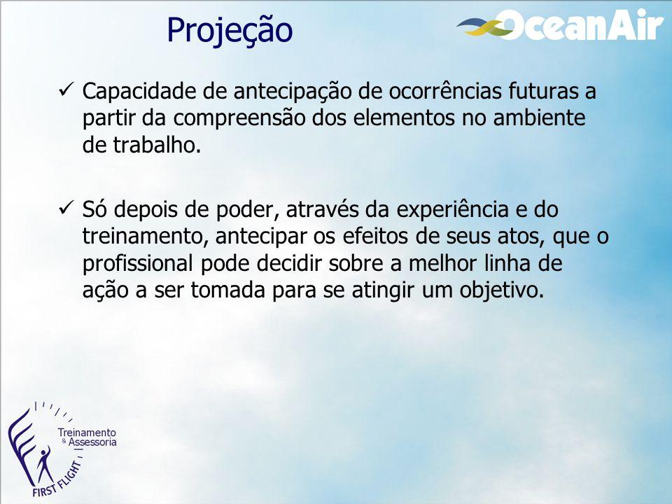 Projeção Capacidade de antecipação de ocorrências futuras a partir da compreensão dos elementos no ambiente de trabalho.