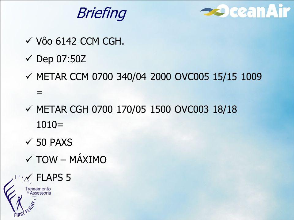 Briefing Vôo 6142 CCM CGH. Dep 07:50Z