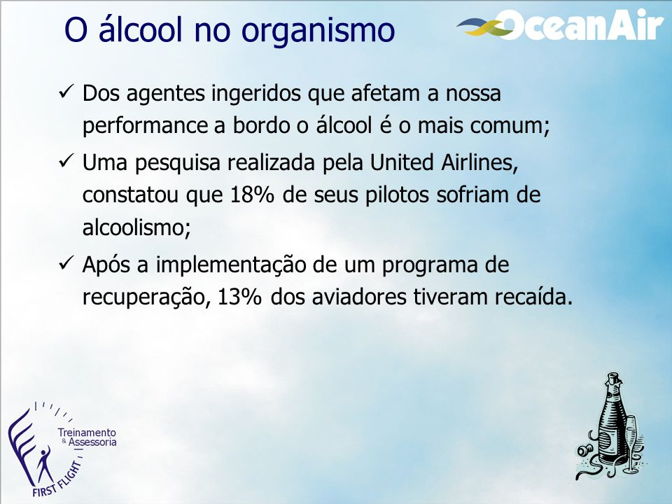 O álcool no organismo Dos agentes ingeridos que afetam a nossa performance a bordo o álcool é o mais comum;