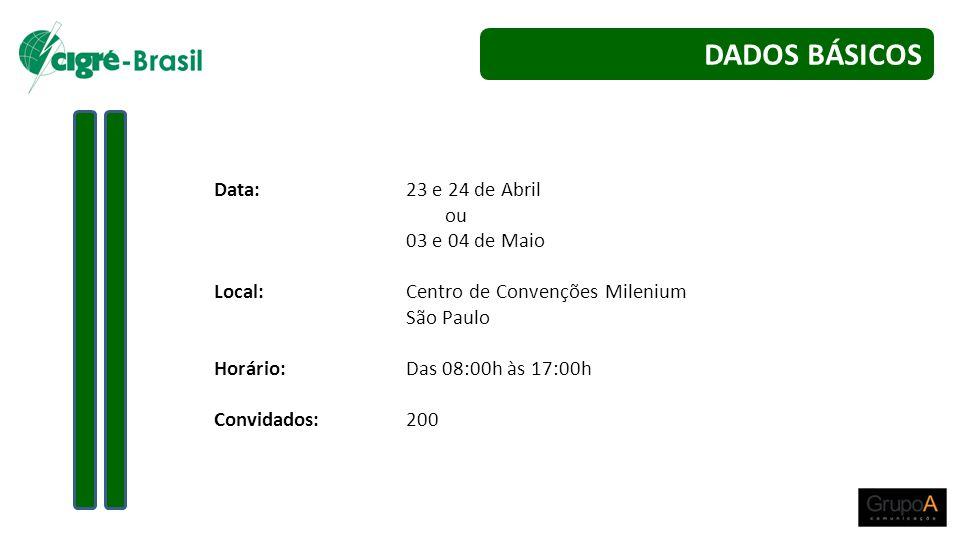 DADOS BÁSICOS Data: 23 e 24 de Abril ou 03 e 04 de Maio