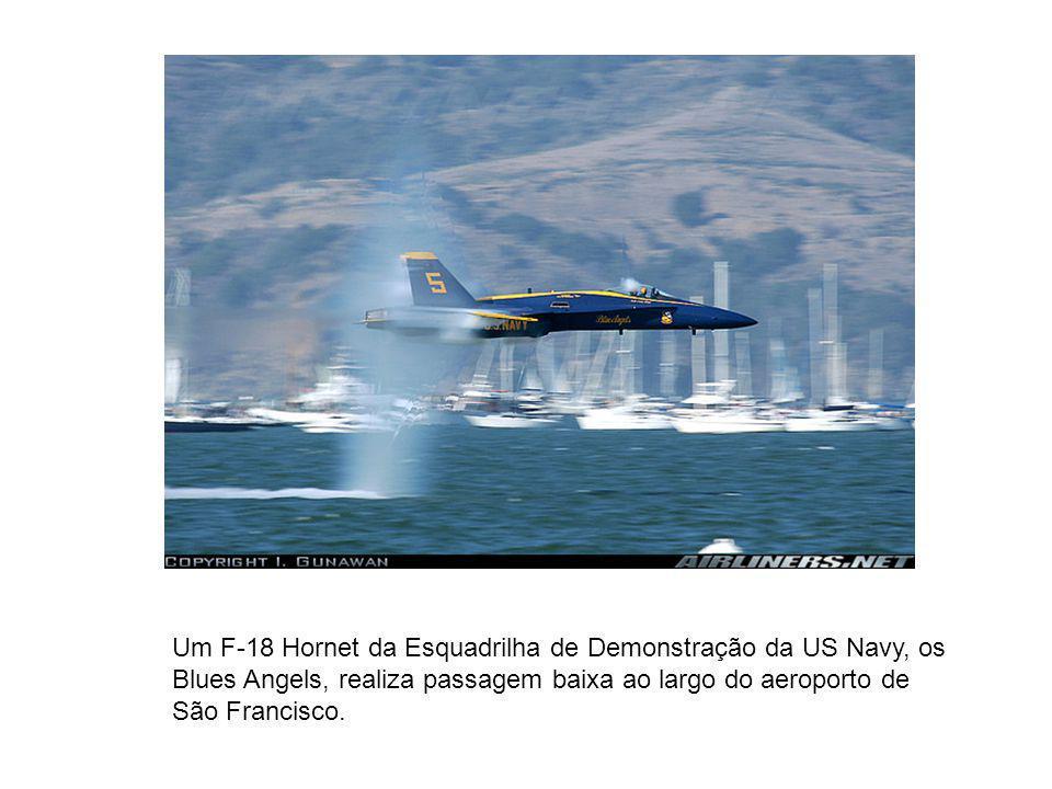 Um F-18 Hornet da Esquadrilha de Demonstração da US Navy, os