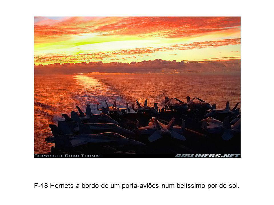F-18 Hornets a bordo de um porta-aviões num belíssimo por do sol.