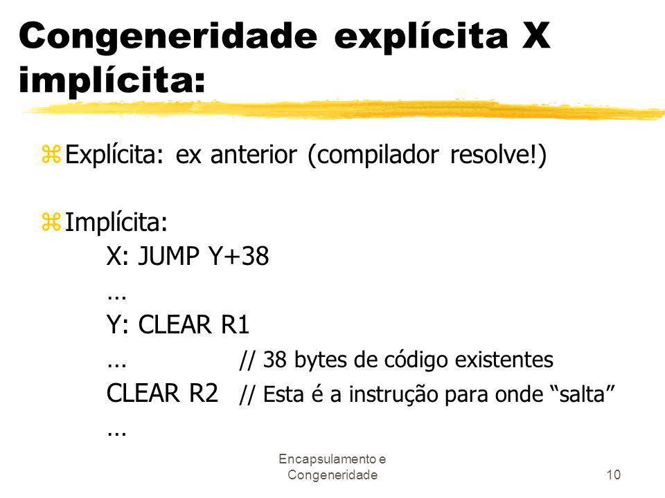 Congeneridade explícita X implícita: