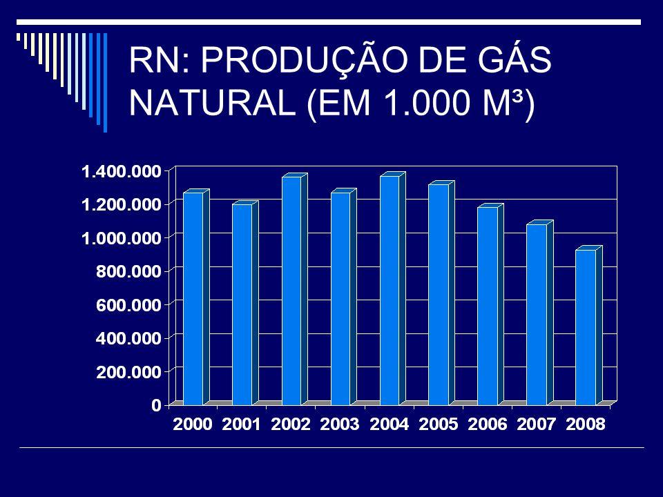 RN: PRODUÇÃO DE GÁS NATURAL (EM 1.000 M³)