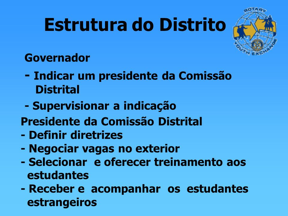 Estrutura do Distrito - Indicar um presidente da Comissão Distrital