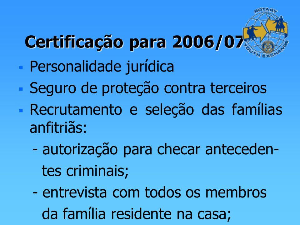 Certificação para 2006/07 Personalidade jurídica