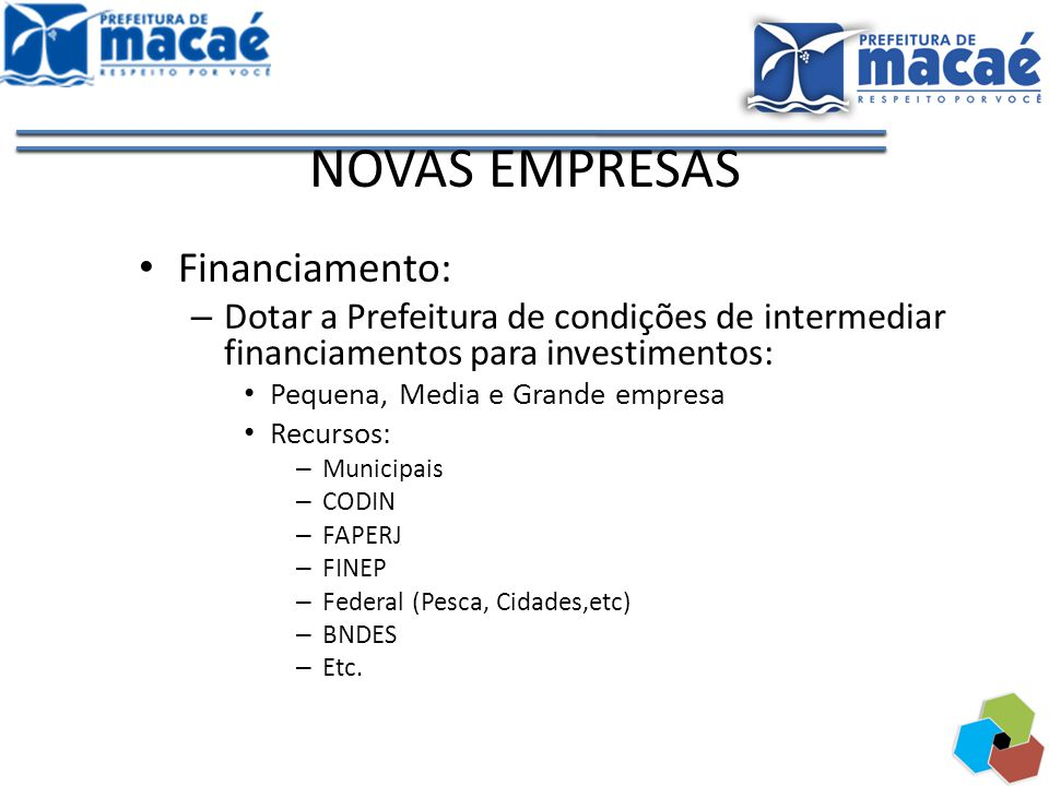NOVAS EMPRESAS Financiamento: