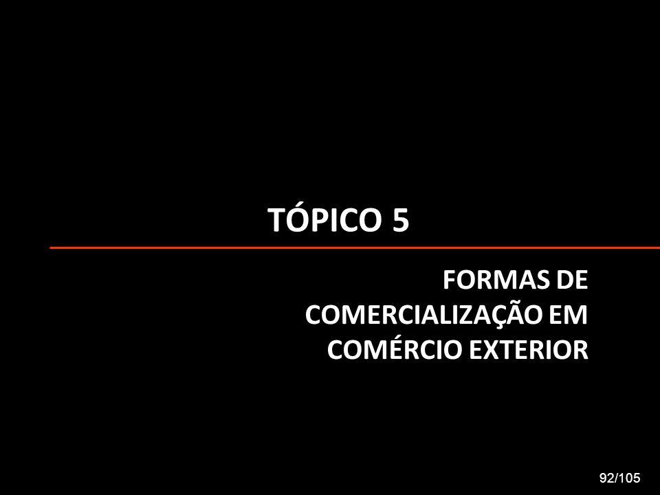 TÓPICO 5 FORMAS DE COMERCIALIZAÇÃO EM COMÉRCIO EXTERIOR 92/105