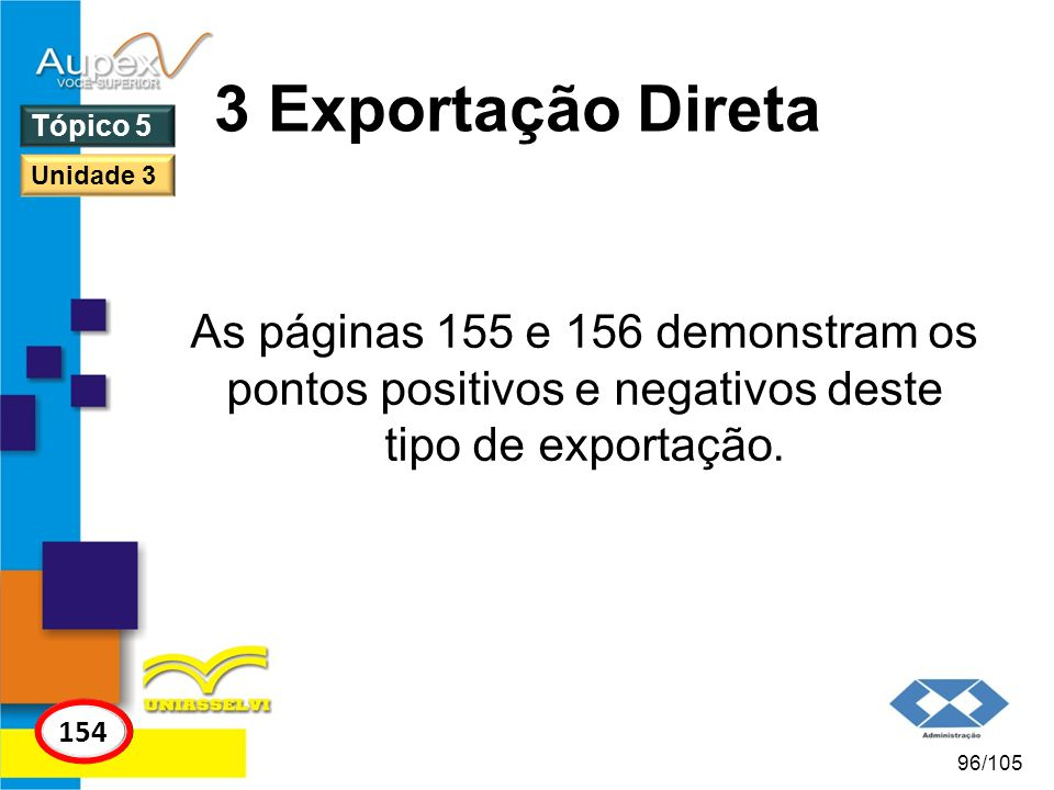3 Exportação Direta Tópico 5. Unidade 3. As páginas 155 e 156 demonstram os pontos positivos e negativos deste tipo de exportação.