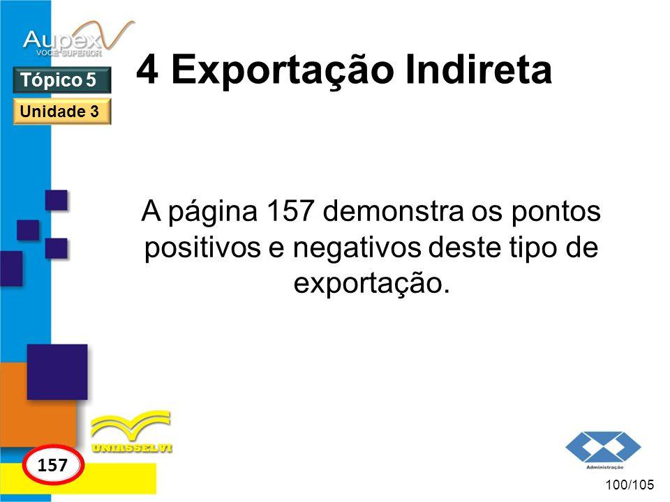 4 Exportação Indireta Tópico 5. Unidade 3. A página 157 demonstra os pontos positivos e negativos deste tipo de exportação.