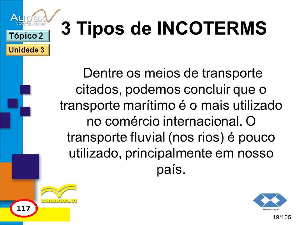 3 Tipos de INCOTERMS Tópico 2. Unidade 3.