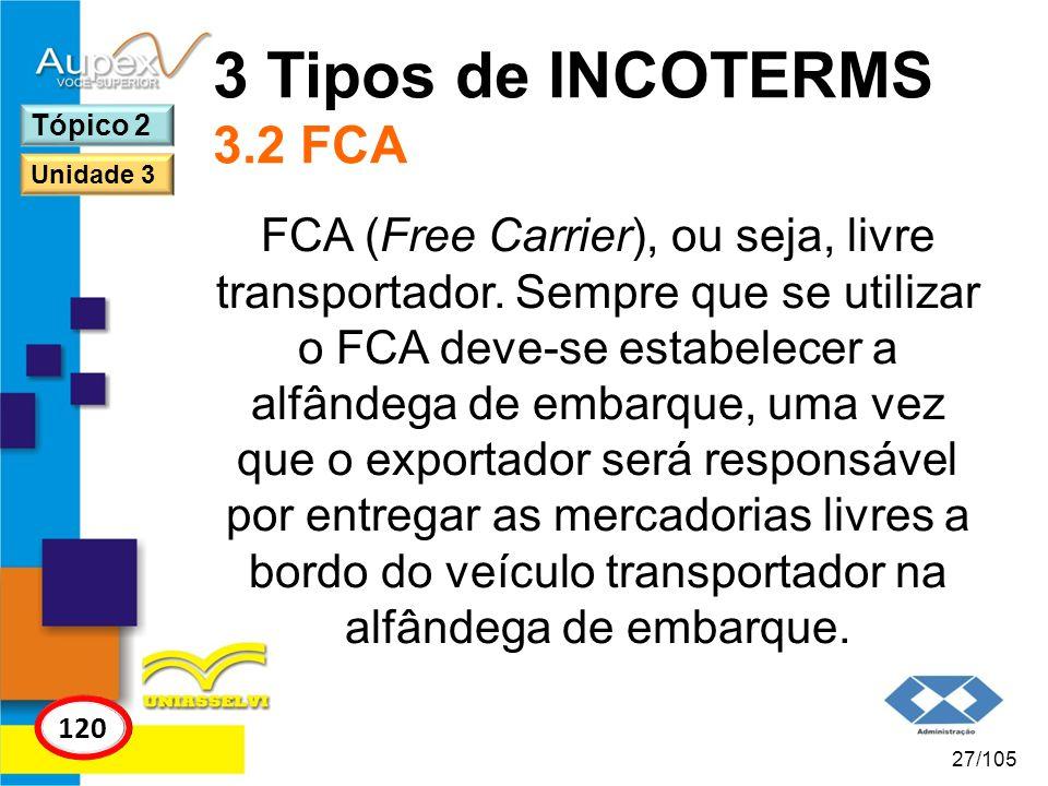 3 Tipos de INCOTERMS 3.2 FCA Tópico 2. Unidade 3.