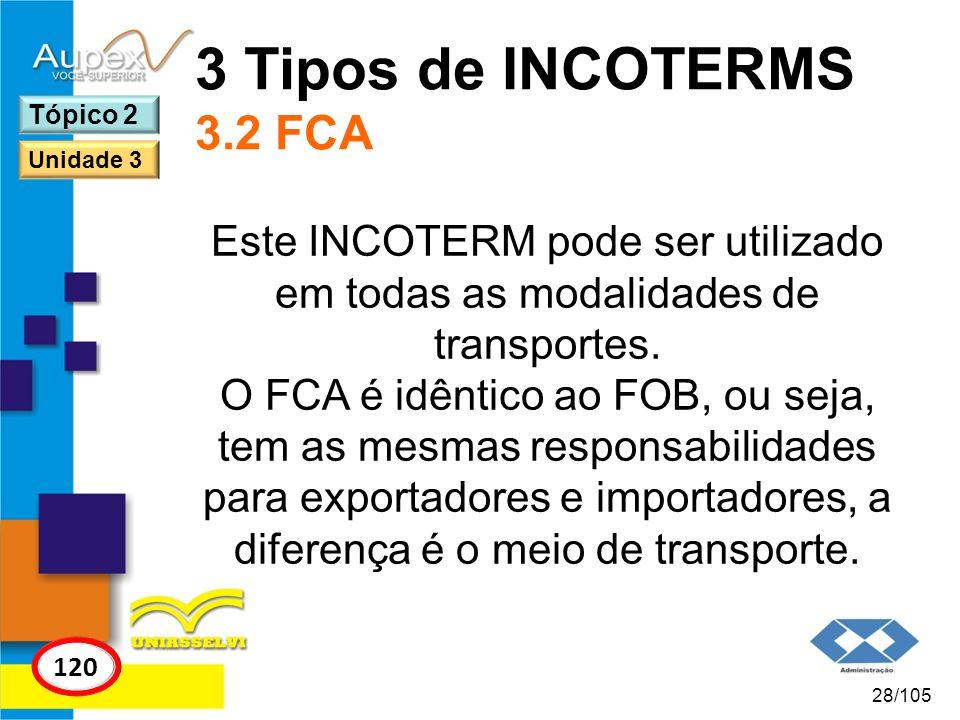 3 Tipos de INCOTERMS 3.2 FCA Tópico 2. Unidade 3. Este INCOTERM pode ser utilizado em todas as modalidades de transportes.
