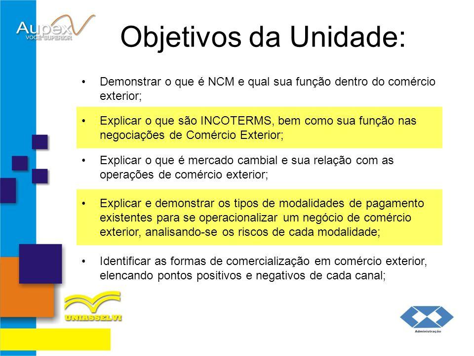 Objetivos da Unidade: Demonstrar o que é NCM e qual sua função dentro do comércio exterior;