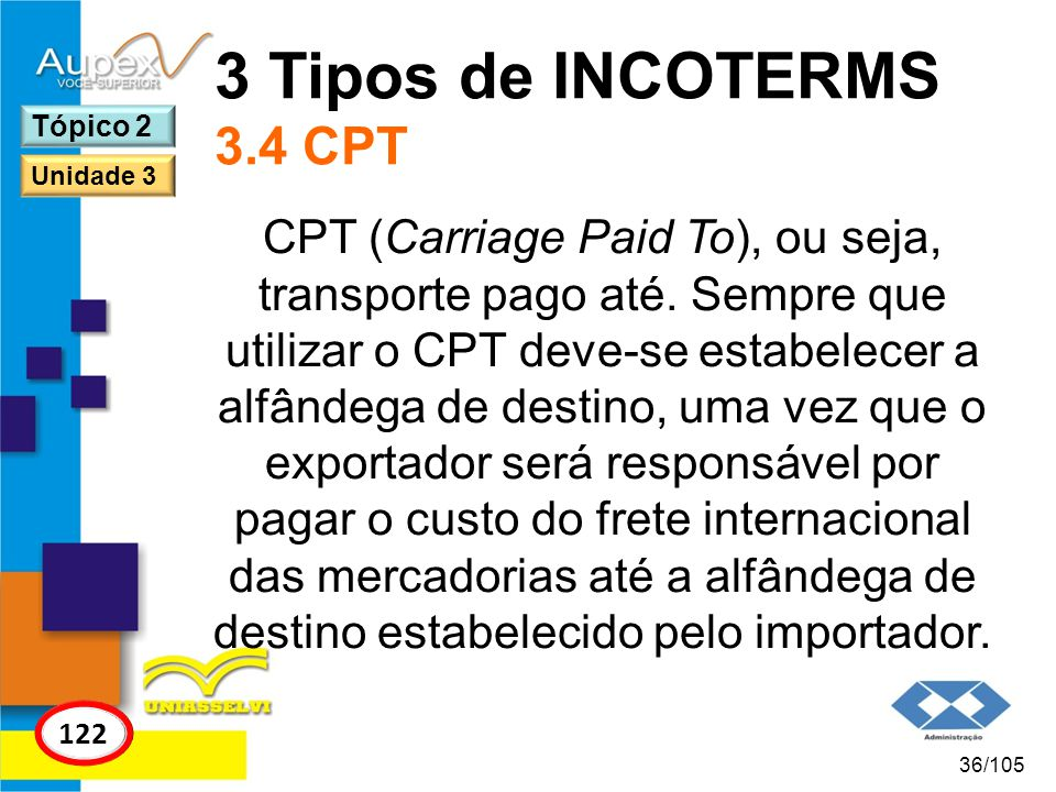 3 Tipos de INCOTERMS 3.4 CPT Tópico 2. Unidade 3.