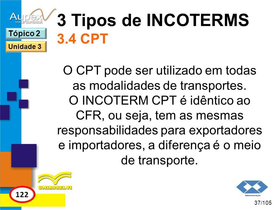 O CPT pode ser utilizado em todas as modalidades de transportes.