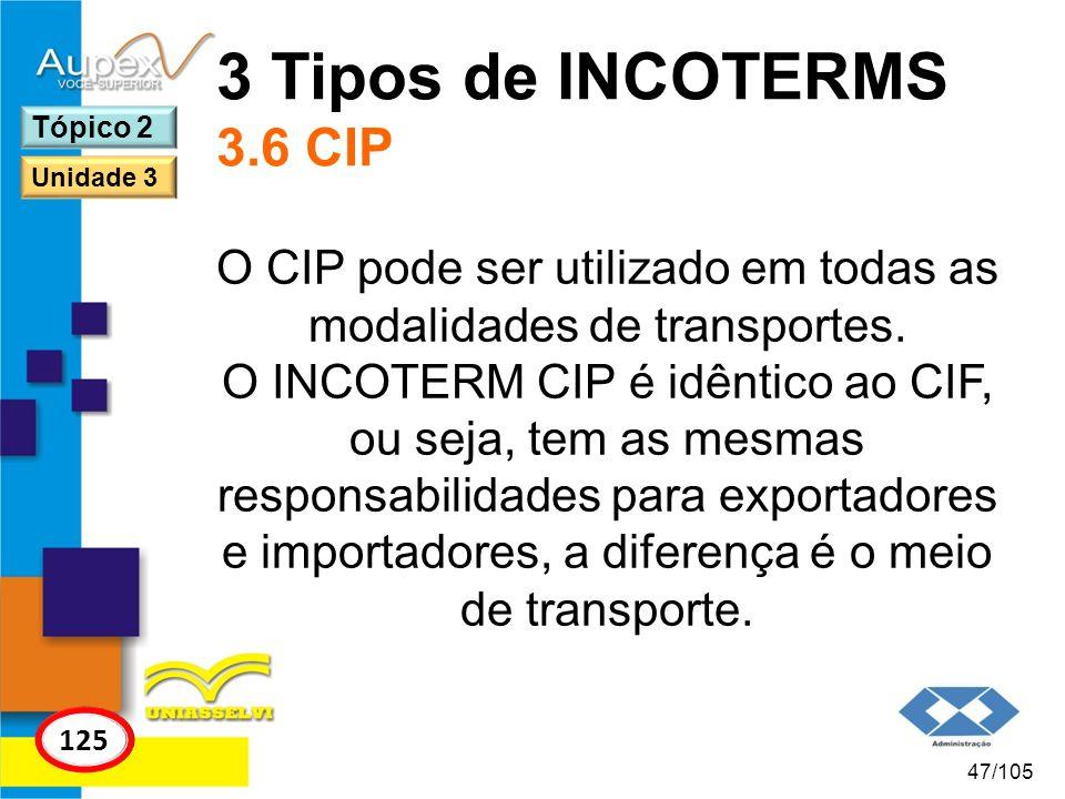 O CIP pode ser utilizado em todas as modalidades de transportes.