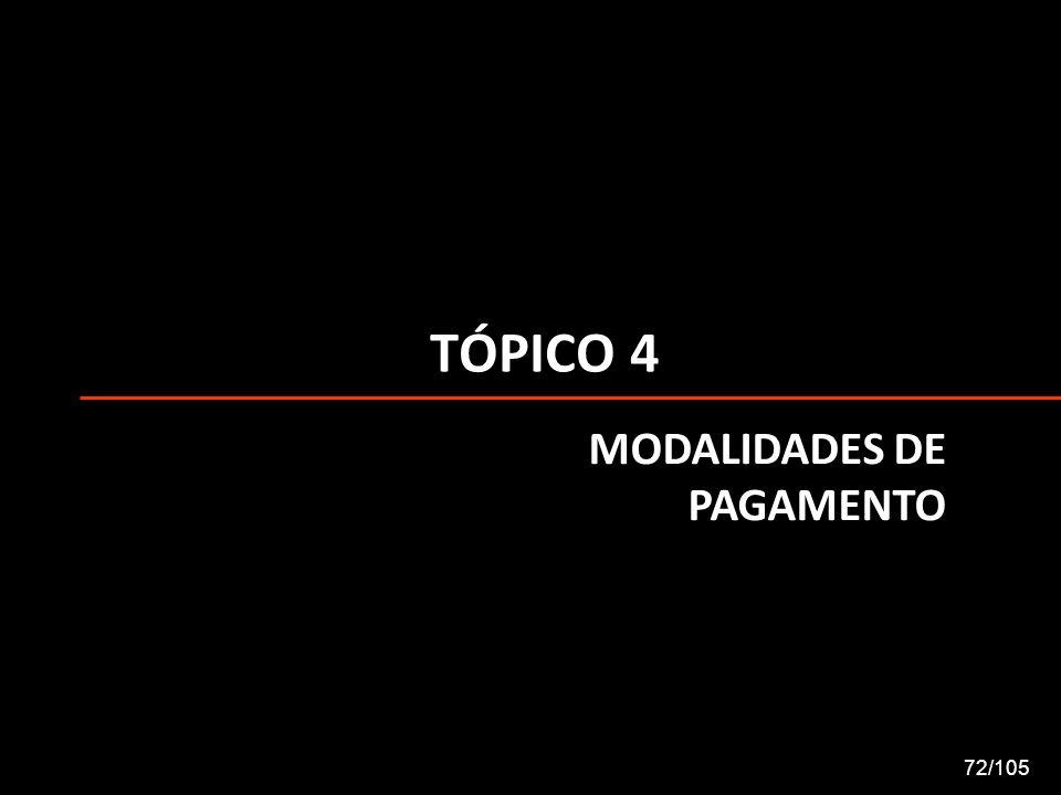 TÓPICO 4 MODALIDADES DE PAGAMENTO 72/105