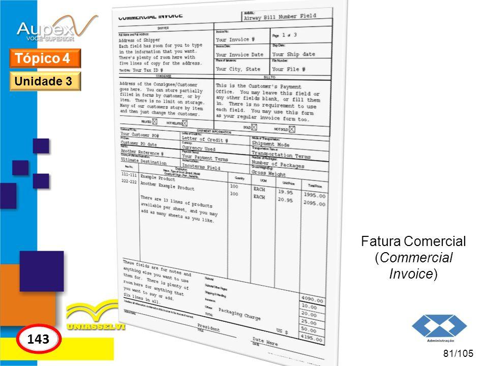 Tópico 4 Unidade 3 Fatura Comercial (Commercial Invoice) 143 81/105