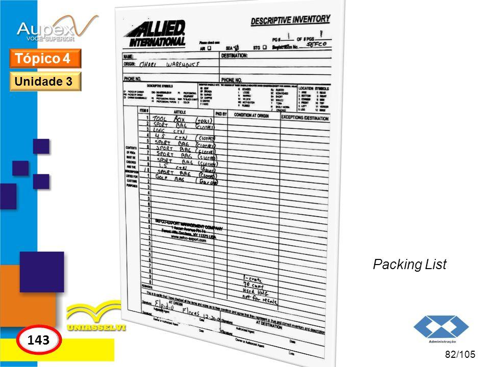Tópico 4 Unidade 3 Packing List 143 82/105